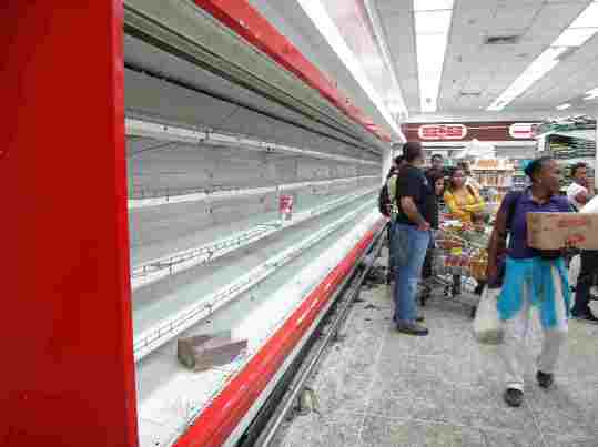 empty supermarket shelves in Venezuela