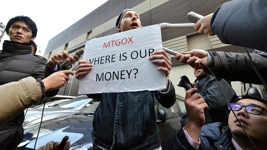 Bit coin trader protesting in front of Mt Gox office