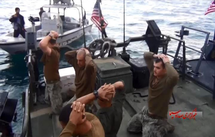 US Navy caught prisoners by Iran's National Guard