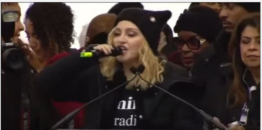 Madonna speaking at the Women's March in Washington