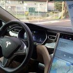 Tesla car testing the autopilot
