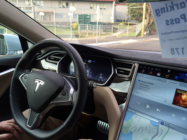 Tesla car testing the autopilot