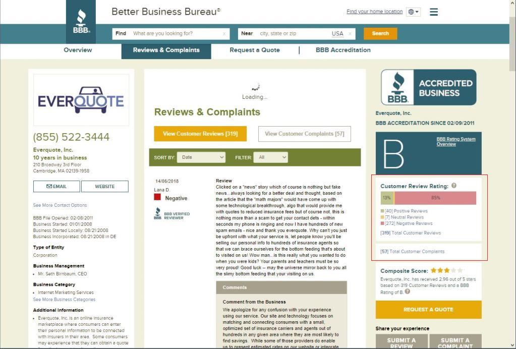 EverQuote Reviews & Complaints @ Better Business Bureau