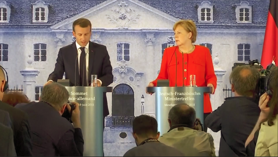 Macron & Merkel at Franco-German Summit press conference June 2018