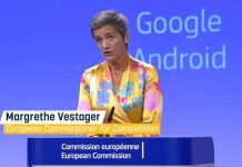 Vestager announcing Google €4.34 Billion fine for breaking EU antitrust rules