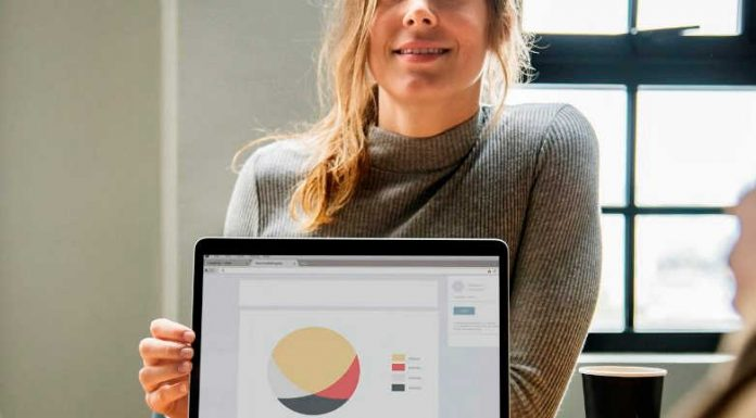Woman presenting top insurance brands market share