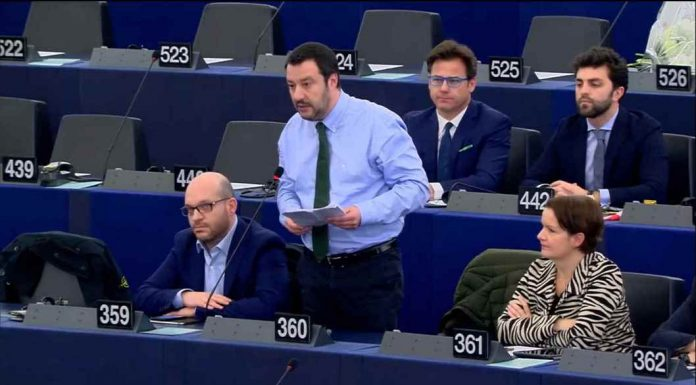 Matteo Salvini speaking about the future of Europe in the European Parliament