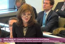 Wendy Harris speaking during Royal Commission Misconduct Financial Services Industry hearing